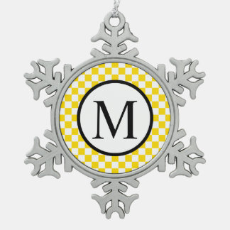 Simple Monogram with Yellow Checkerboard Snowflake Pewter Christmas Ornament