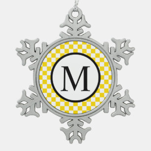 Simple Monogram with Yellow Chequerboard Snowflake Pewter Christmas Ornament