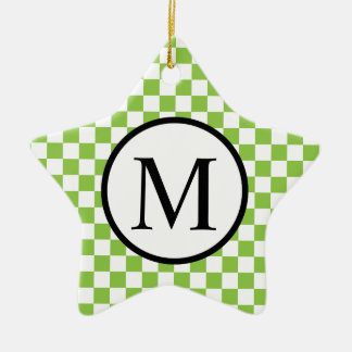 Simple Monogram with Yellow Green Checkerboard Christmas Ornament