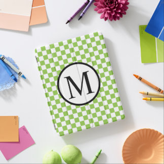 Simple Monogram with Yellow Green Checkerboard iPad Cover