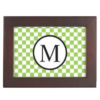 Simple Monogram with Yellow Green Checkerboard Keepsake Boxes
