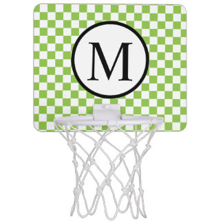 Simple Monogram with Yellow Green Checkerboard Mini Basketball Hoop