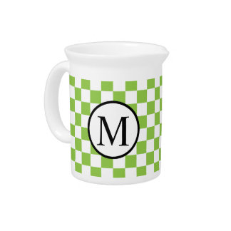 Simple Monogram with Yellow Green Checkerboard Pitcher