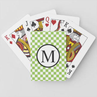 Simple Monogram with Yellow Green Checkerboard Playing Cards