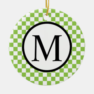 Simple Monogram with Yellow Green Checkerboard Round Ceramic Decoration