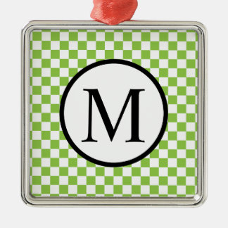 Simple Monogram with Yellow Green Checkerboard Silver-Colored Square Decoration
