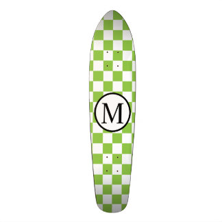 Simple Monogram with Yellow Green Checkerboard Skateboards