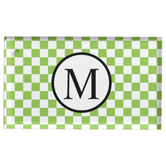 Simple Monogram with Yellow Green Checkerboard Table Card Holder