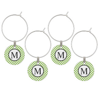 Simple Monogram with Yellow Green Checkerboard Wine Charm