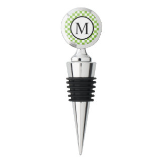 Simple Monogram with Yellow Green Checkerboard Wine Stopper