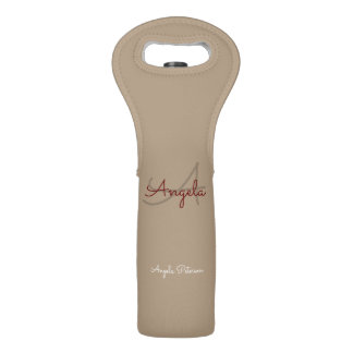 simple, monogrammed and elegant taupe wine bag