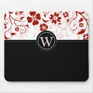 Simple Monogrammed Black and Red Mousepad