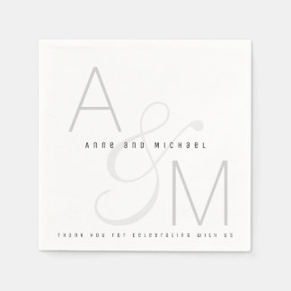 simple monogrammed wedding reception party paper napkin