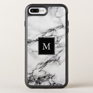 Simple monogrammed White And Black Marble Stone OtterBox Symmetry iPhone 8 Plus/7 Plus Case