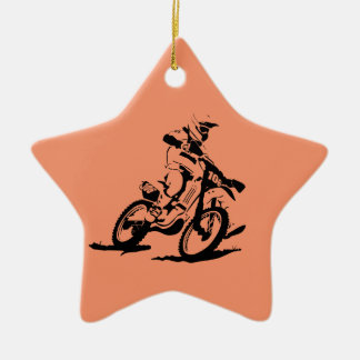 Simple Motorcross Bike and Rider Ceramic Star Decoration