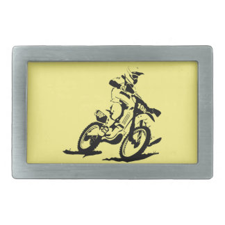 Simple Motorcross Bike and Rider Rectangular Belt Buckle
