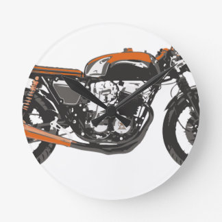 Simple Motorcycle - Cafe Racer 750 Drawing Round Clock