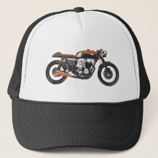Simple Motorcycle - Cafe Racer 750 Drawing Trucker Hat