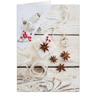 Simple natural Christmas white theme Card