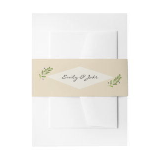 Simple Natural Wedding Packet Mailing Portrait Invitation Belly Band