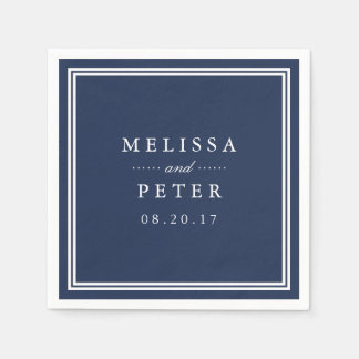 Simple Navy and White Wedding Disposable Serviette