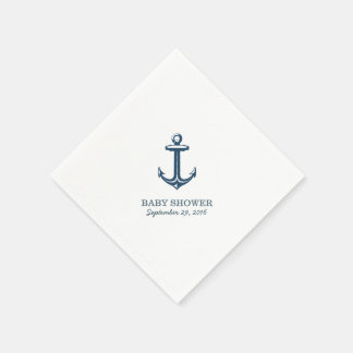 Simple Navy Blue Anchor Nautical Baby Shower Disposable Serviette