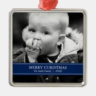 Simple Navy Blue and White Custom Photo Christmas Christmas Ornament