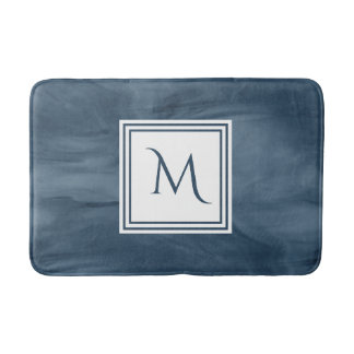 Simple Navy Blue Subtle Marble Modern Monogram Bath Mat