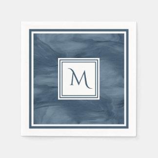 Simple Navy Blue Subtle Marble Modern Monogram Disposable Serviette