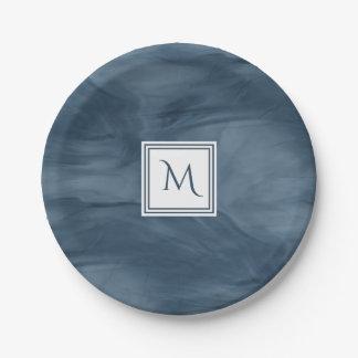 Simple Navy Blue Subtle Marble Modern Monogram Paper Plate