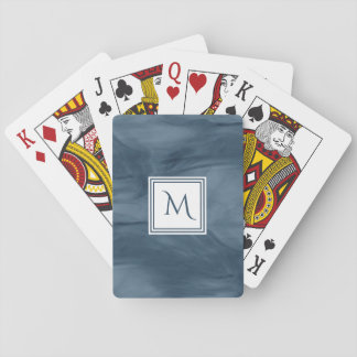Simple Navy Blue Subtle Marble Modern Monogram Playing Cards