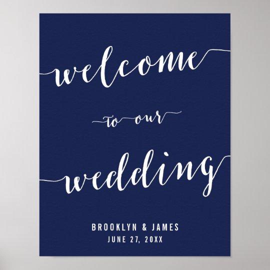 Simple Navy Blue Wedding Reception Sign Print