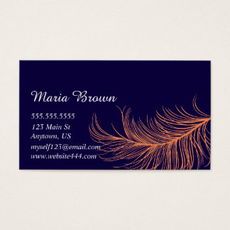 Simple Navy Feather Business Card
