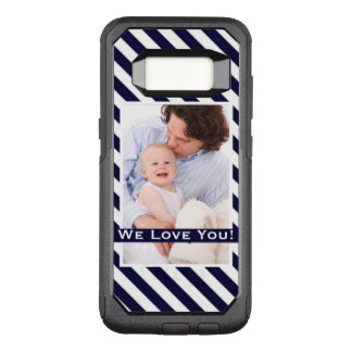 Simple Navy Stripes & Photo w/Custom Text OtterBox Commuter Samsung Galaxy S8 Case