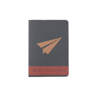 SIMPLE NAVY TAN RED  LEATHER PAPER PLANE MONOGRAM PASSPORT HOLDER