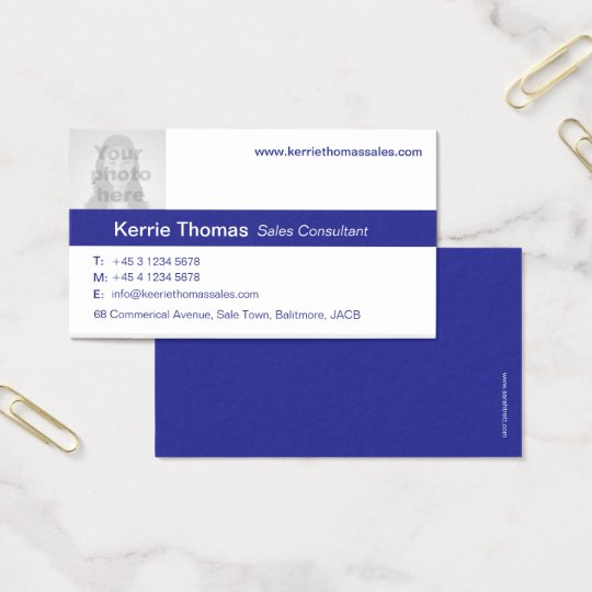 Simple navy & white photo blue back business card