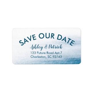 Simple Ocean Save our Date Nautical Seaside Beach Label