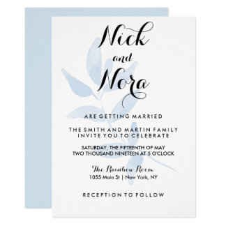 Simple Olive Branch Light Blue Invitation