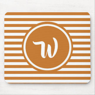 Simple Orange and White Striped Monogram Mouse Mat
