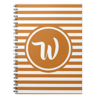 Simple Orange and White Stripes Striped Initials Notebook