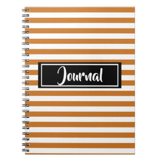 Simple Orange and White Stripes Striped Journal