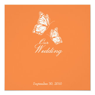 Simple Orange Butterflies Wedding Announcement 2