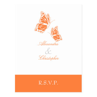 Simple Orange Butterfly RSVP 2 Postcards