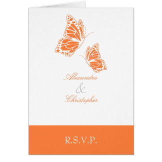 Simple Orange Butterfly RSVP Note Note Card