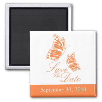 Simple Orange Butterfly Save The Date Wedding Square Magnet