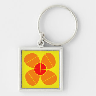 Simple Orange Flower Silver-Colored Square Key Ring