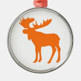 Simple orange moose symbol round ornament