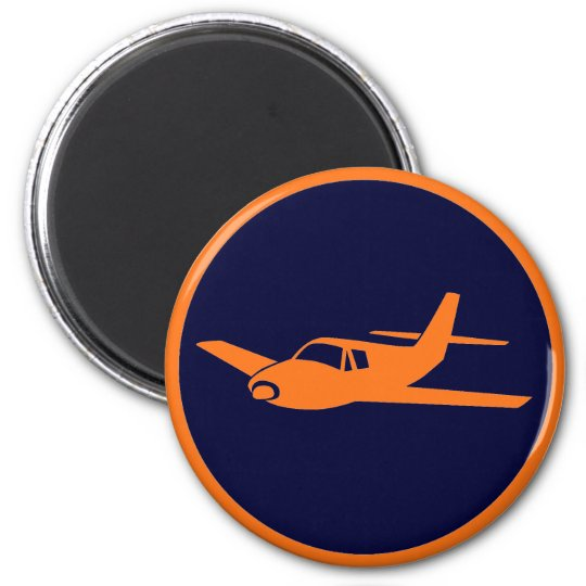 Simple orange navy blue aeroplane magnets