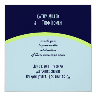 "Simple pale blue and lemon-lime wedding 5.25"" square invitation card"