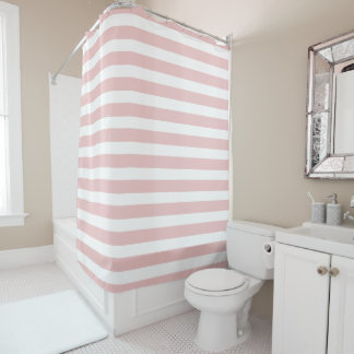 Simple Pastel Pink Stripe Shower Curtain